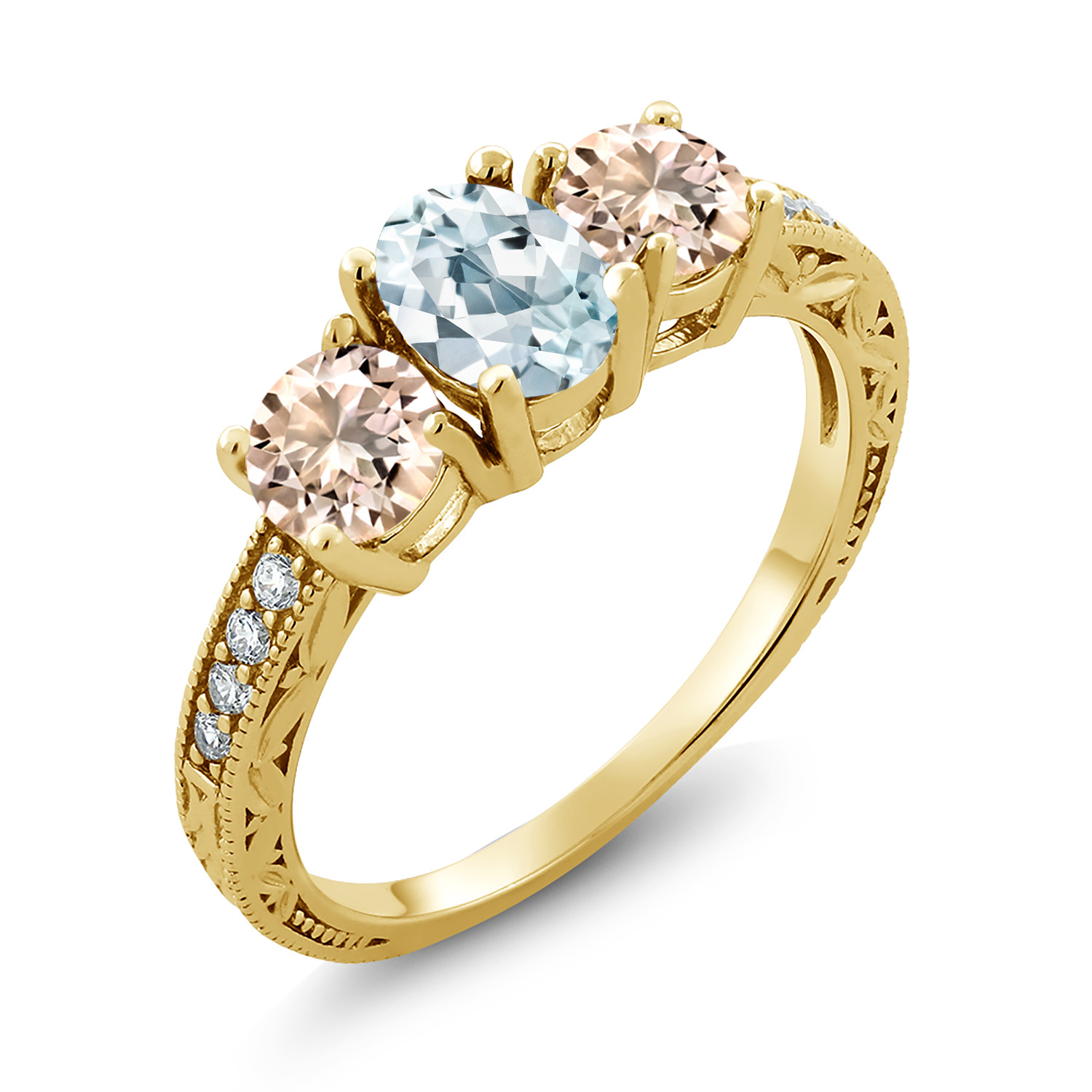 0.40 Ct Round Sky Blue Aquamarine and Diamond 18K Yellow Gold Plated Silver Ring