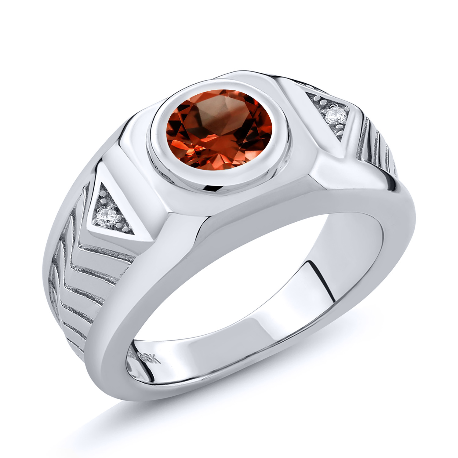1.85 Ct Round Red Garnet 925 Sterling Silver Ring