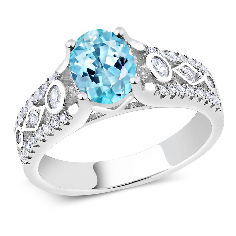 Gem Stone King 1.73 Ct Oval Green Mystic Topaz Black Diamond 925 Sterling Silver Mens Ring