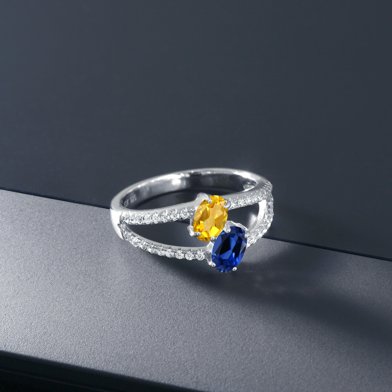 1.31 Ct Oval Checkerboard Citrine White Created Sapphire 925 Silver Men/'s Ring