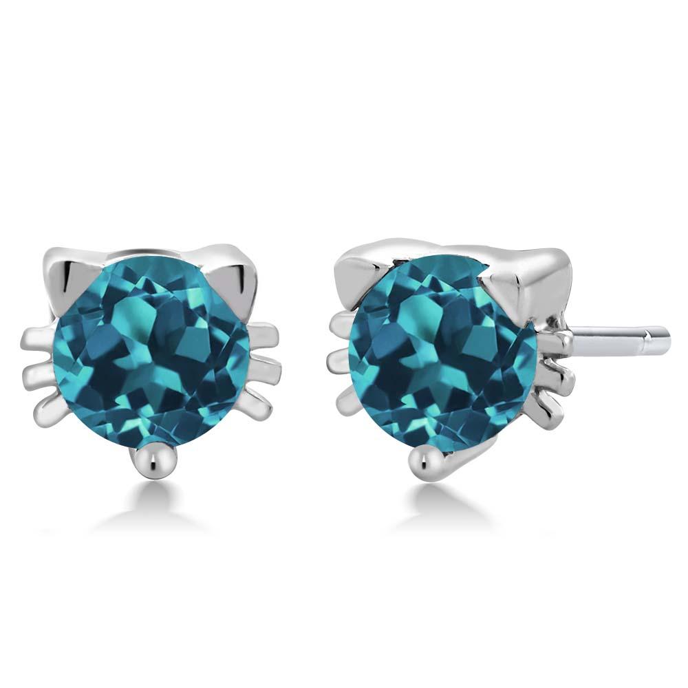 0.90 Ct Round Swiss Blue Topaz 925 Sterling Silver 3-Stone Earrings