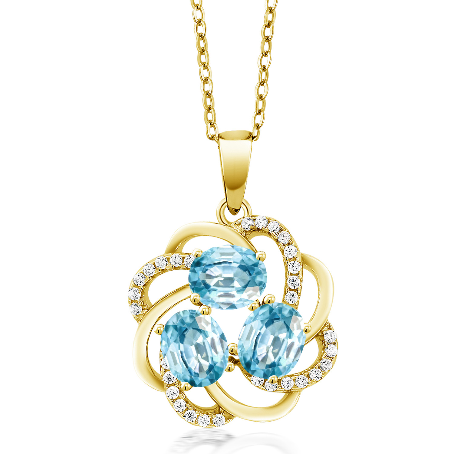 Gem Stone King 2.60 Ct Oval Blue Zircon 18K Rose Gold Plated Silver Pendant