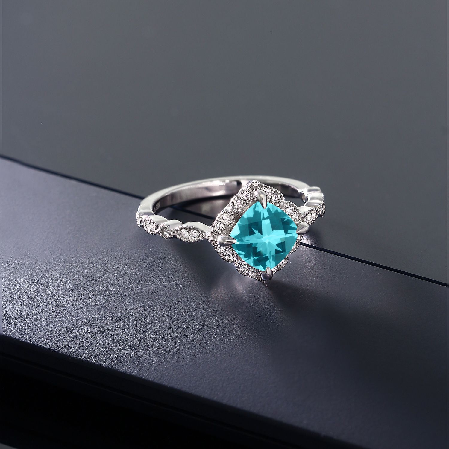 907f668e8 925 Sterling Silver Solitaire Ring Set With Paraiba Topaz from Swarovski
