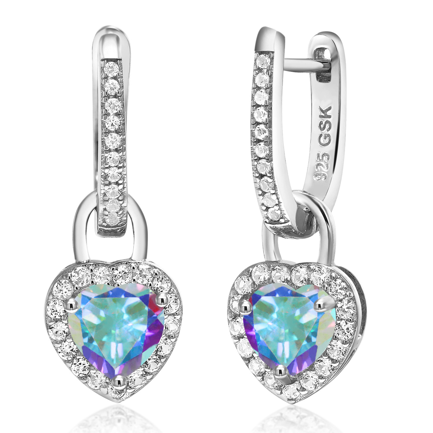 2.66 Ct Round Hearts And Arrows White Created Sapphire 14K Yellow Gold Earrings