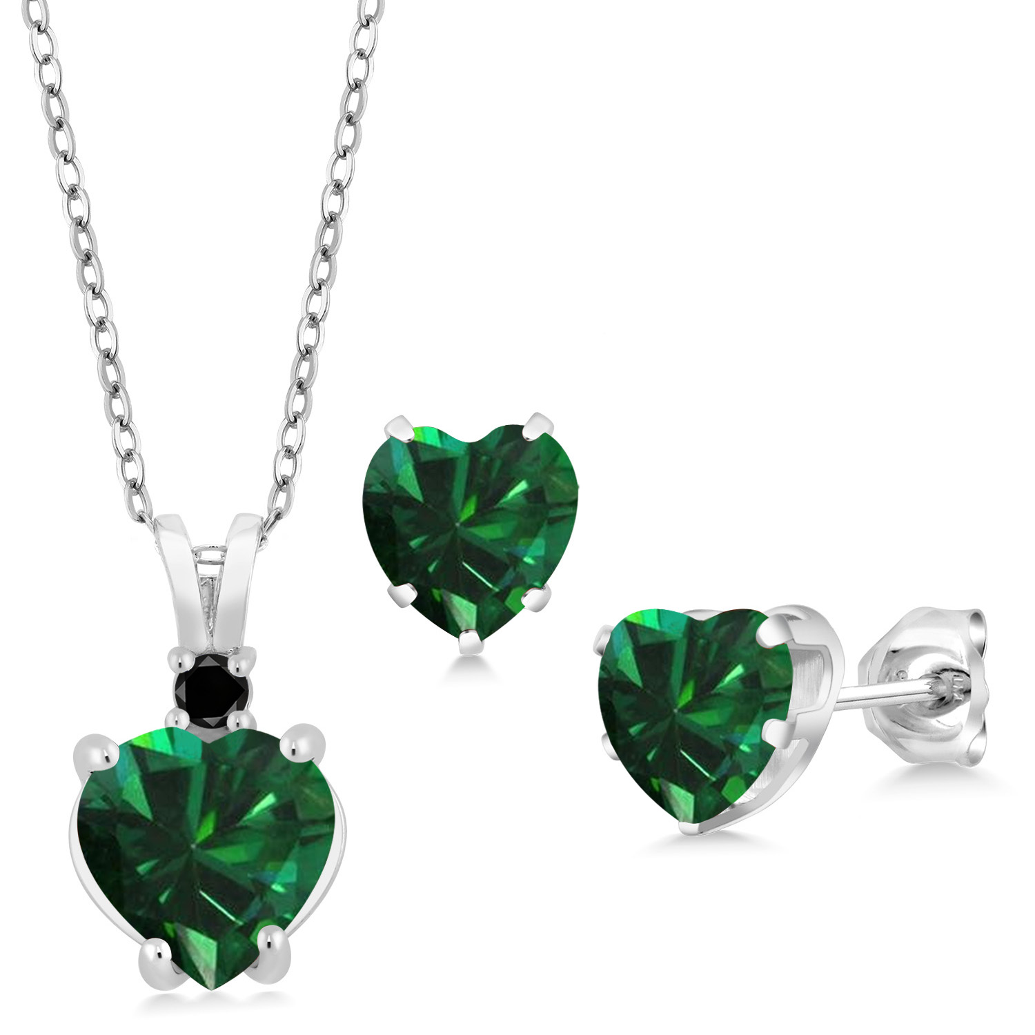 2 Ct Emerald 8mm Round Pendant .925 Sterling Silver