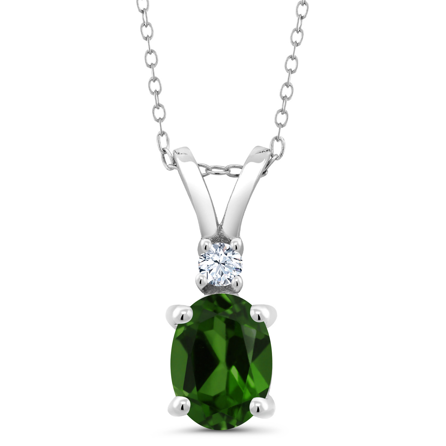 Gem Stone King 1.44 Ct Oval Green Chrome Diopside 925 Sterling Silver Pendant with Gift