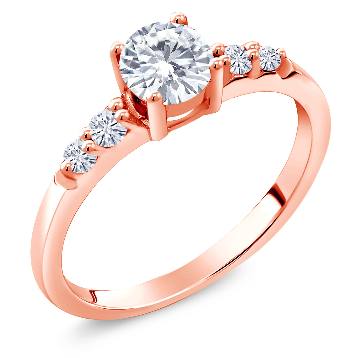 Available in size 5,6,7,8,9 Gem Stone King 1.05 Ct Green Prasiolite White Created Sapphire 18K Rose Gold Plated Silver Ring