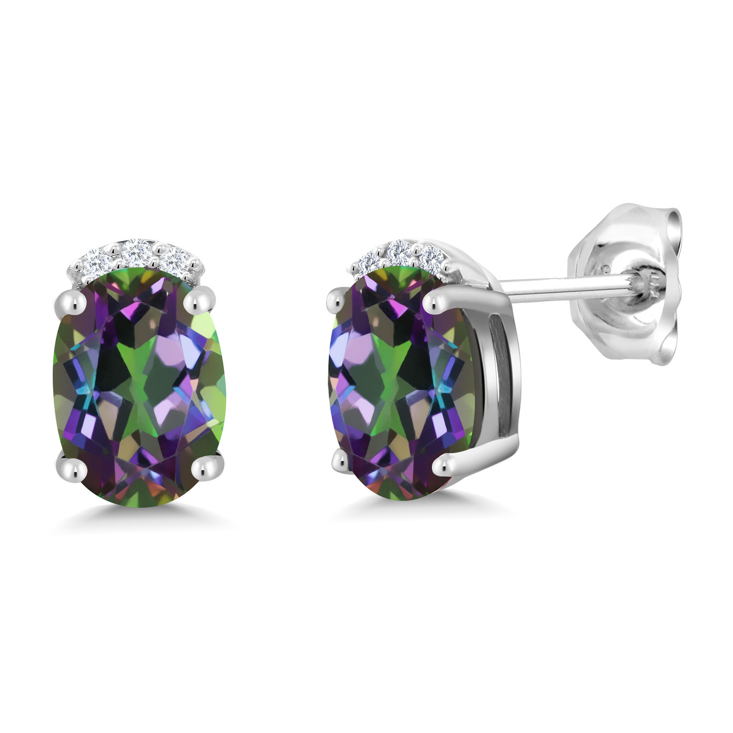 Gem Stone King 2.60 Ct Oval 8x6mm Blue Mystic Topaz 925 Sterling Silver Stud Earrings
