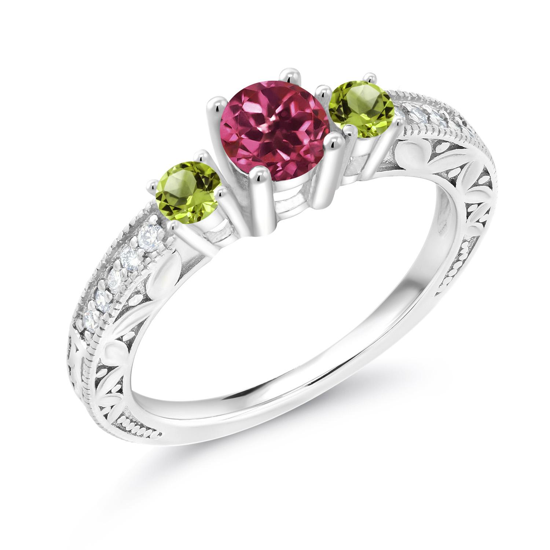 1.08 Ct Round Green Peridot Pink Tourmaline 925 Sterling Silver 3-Stone Ring
