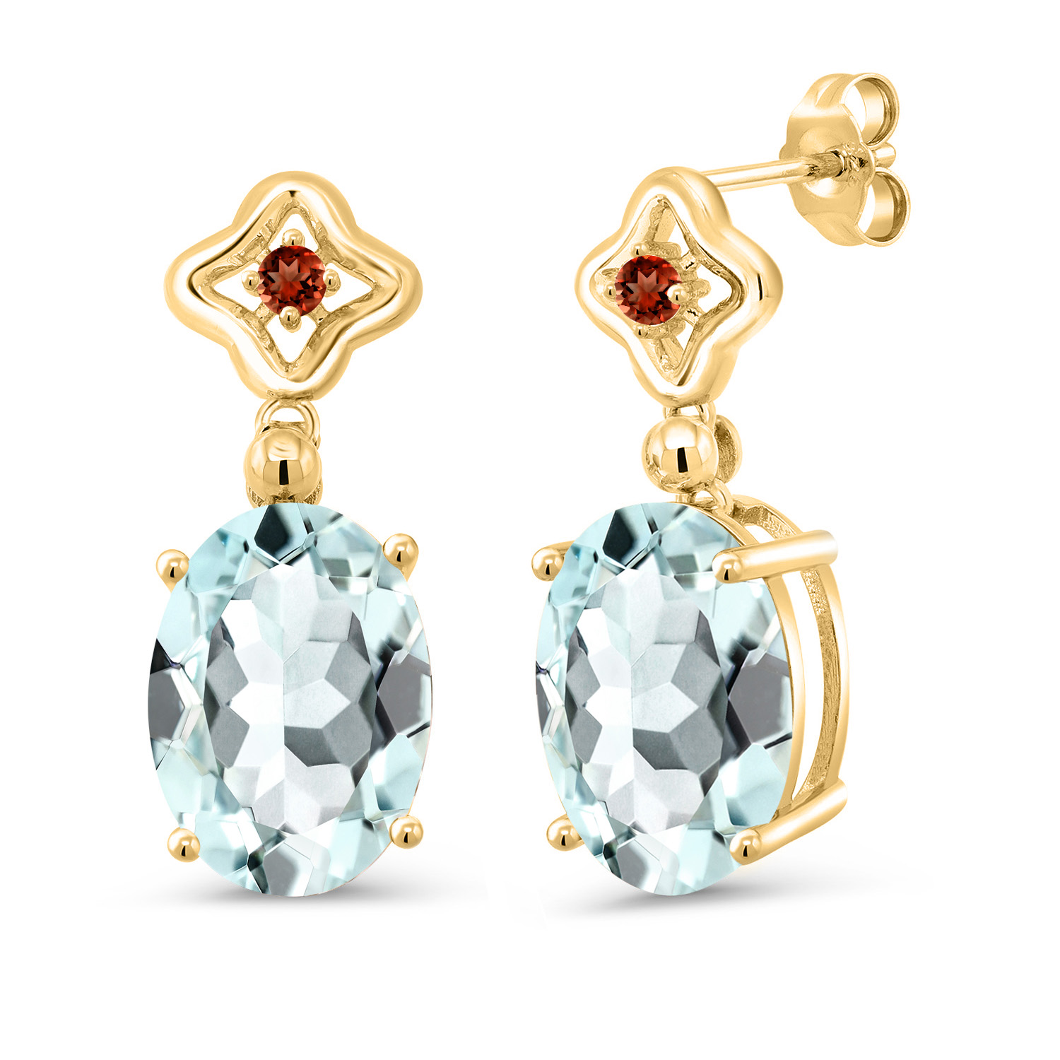 1.07 Ct Oval Red Garnet White Diamond 14K Yellow Gold Earrings