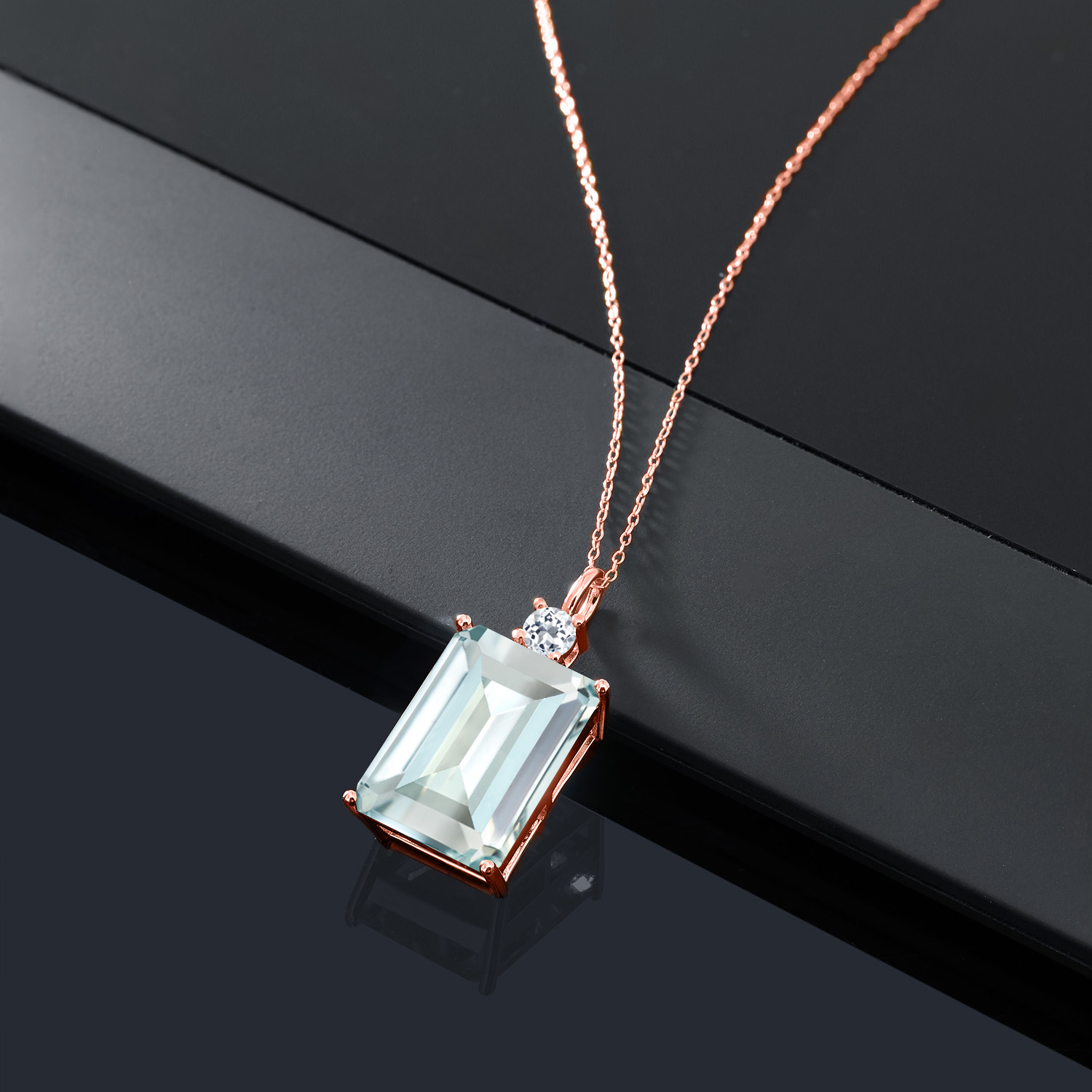 Gem Stone King 0.76 Ct Heart Shape White Simulated Opal White Topaz 18K Rose Gold Plated Silver Pendant with 18 inches Chain