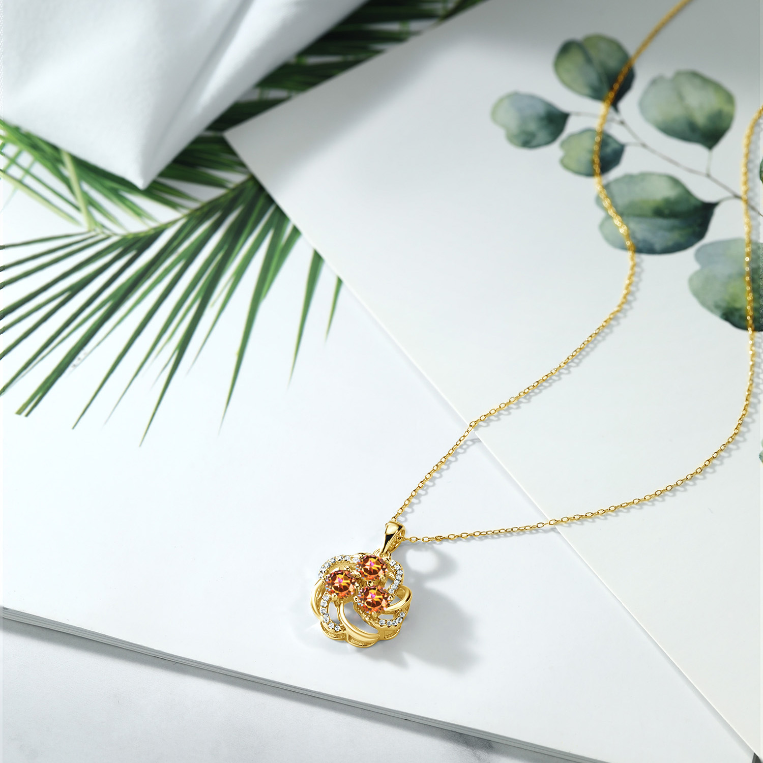 Gem Stone King 0.99 Ct Round London Blue Topaz 18K Rose Gold Plated Silver Circle Pendant With Chain