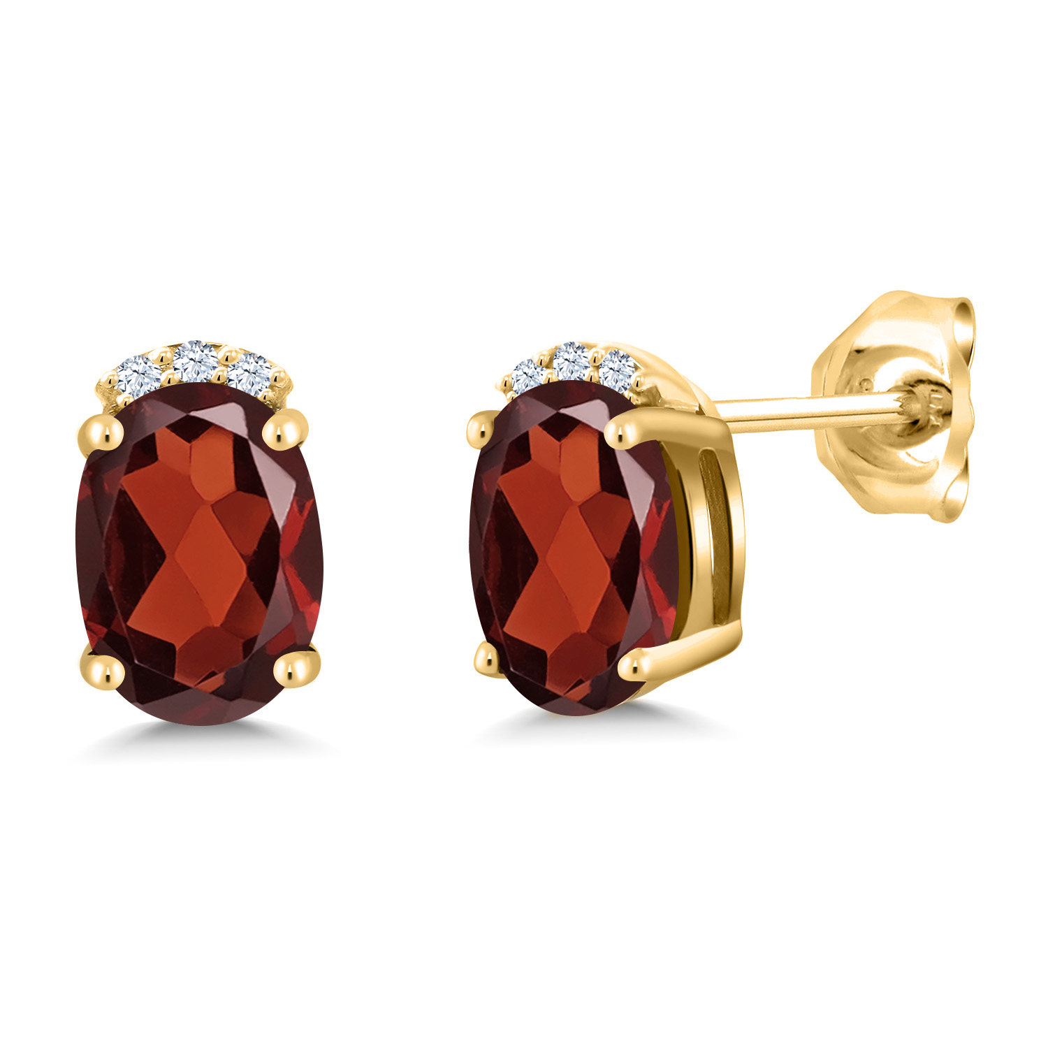 Gem Stone King 0.51 Ct Oval Red Garnet 18K Yellow Gold Plated Silver Pendant