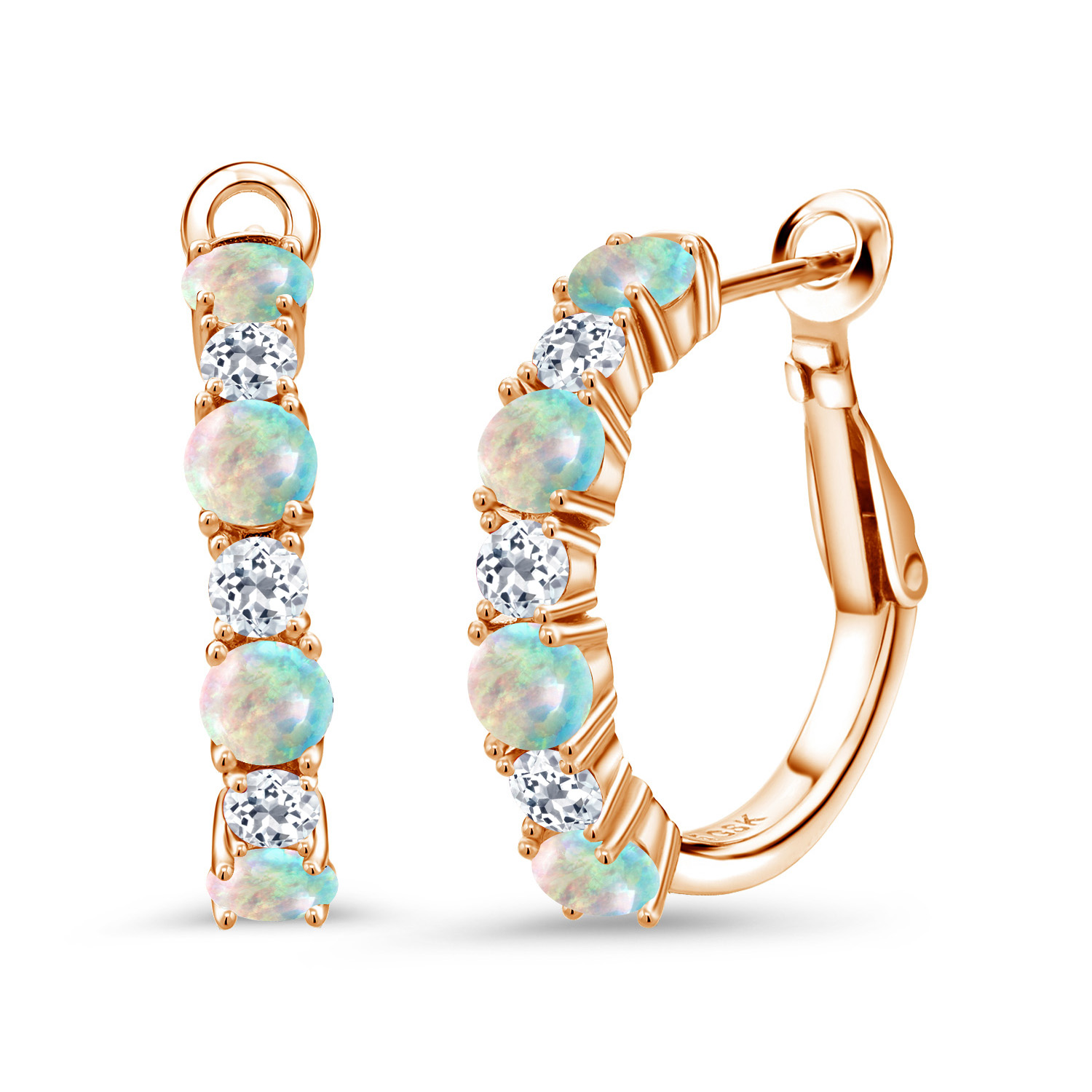 Gem Stone King 2.00 Ct Oval Cabochon White Simulated Opal Silver Plated Brass Stud Earrings