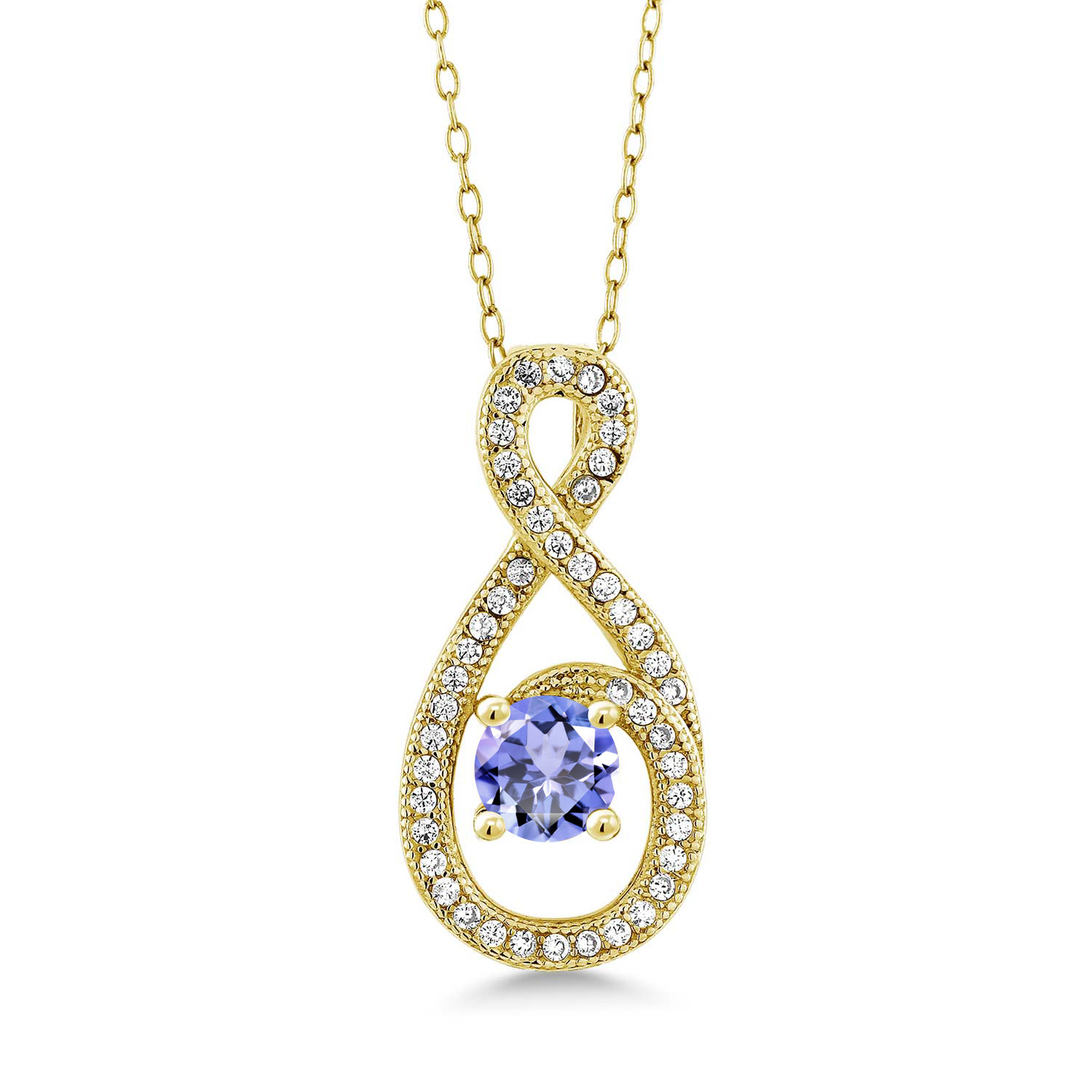 Gem Stone King 1.06 Ct Round Blue Sapphire White Topaz 18K Yellow Gold Plated Silver Pendant