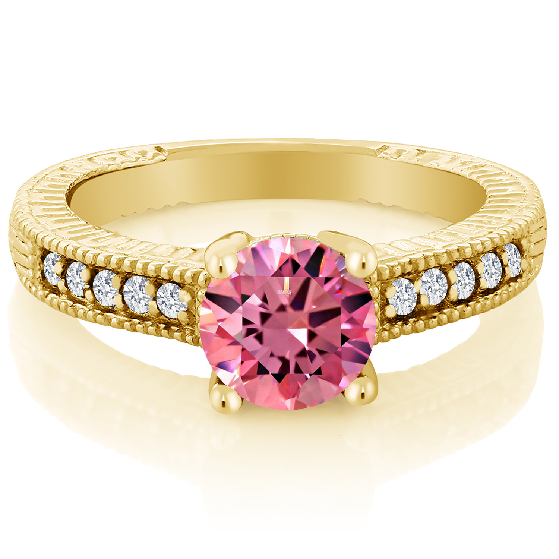 1.43 Ct Pink YG Plated Silver Ring Made With Swarovski Zirconia   eBay