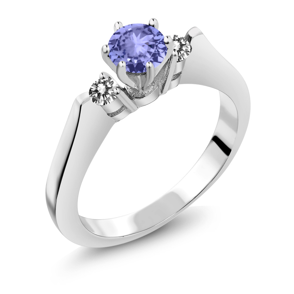 cd3d3001f38eb Details about 0.59 Ct Round Blue Tanzanite White Diamond 925 Sterling  Silver 3-Stone Ring