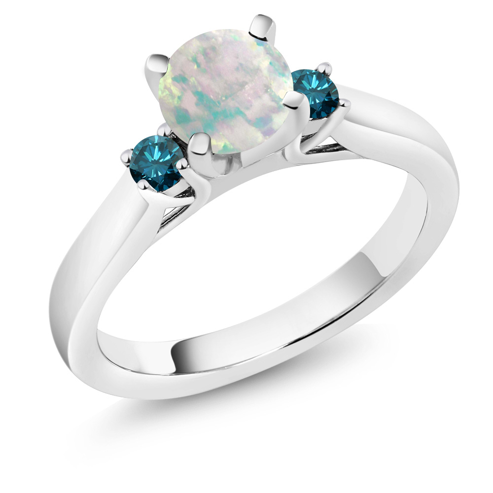 0.50 Ct Round Cabochon White Simulated Opal Blue Diamond 925