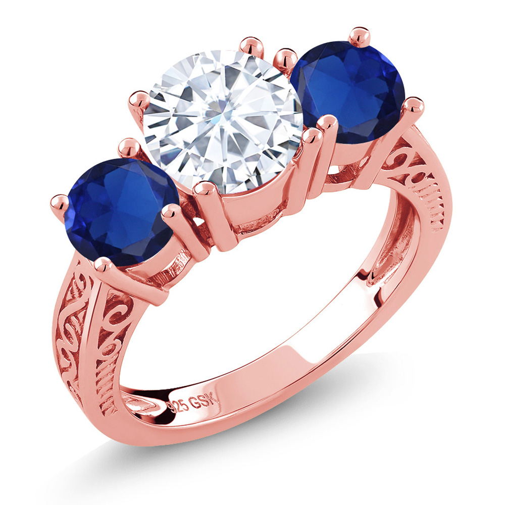 2.30 Ct Created Moissanite Simulated Sapphire 18K Rose Gold Plated ...