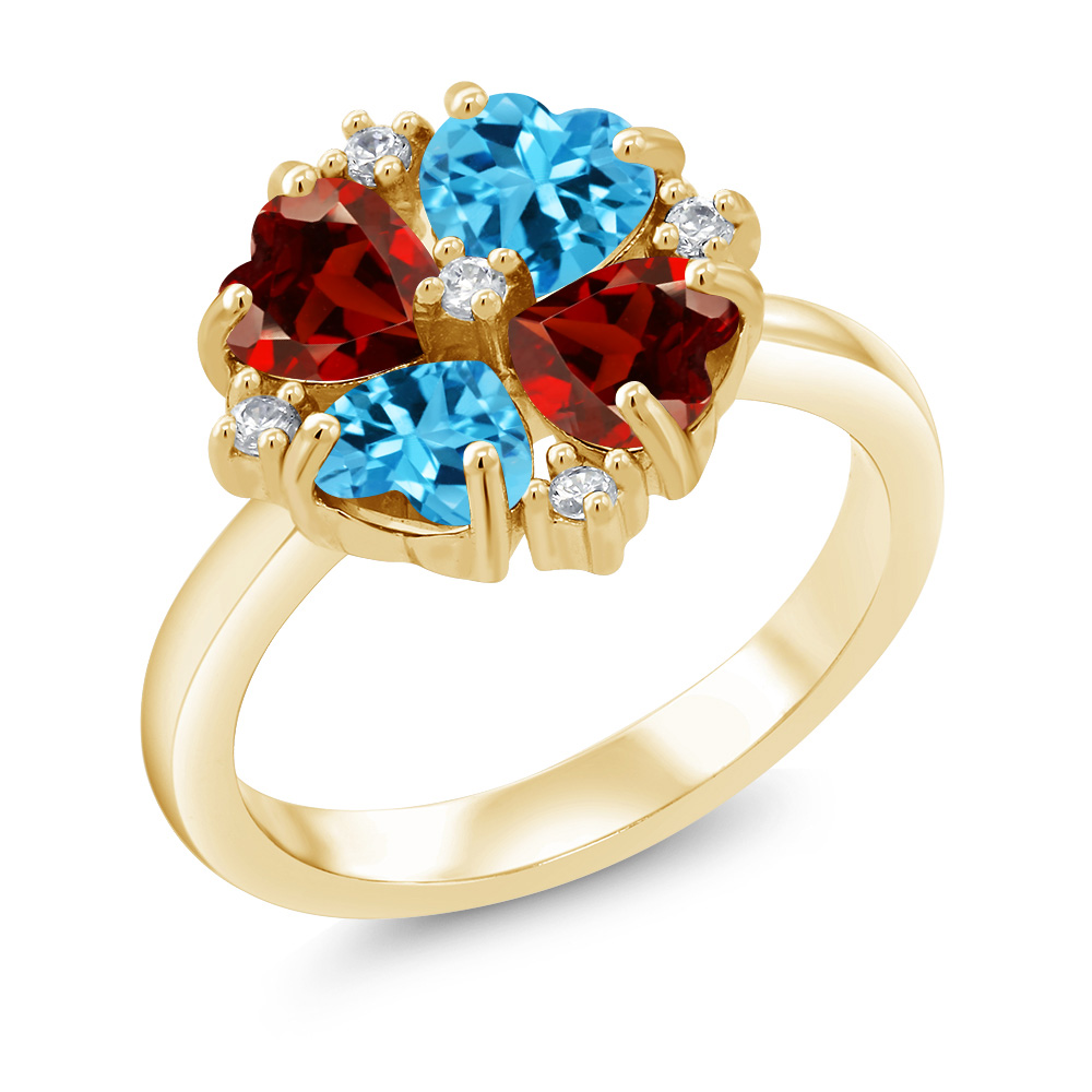 Gem Stone King 2.12 Ct Mercury Mist Mystic Topaz Blue Simulated Sapphire 18K Yellow Gold Plated Silver Ring