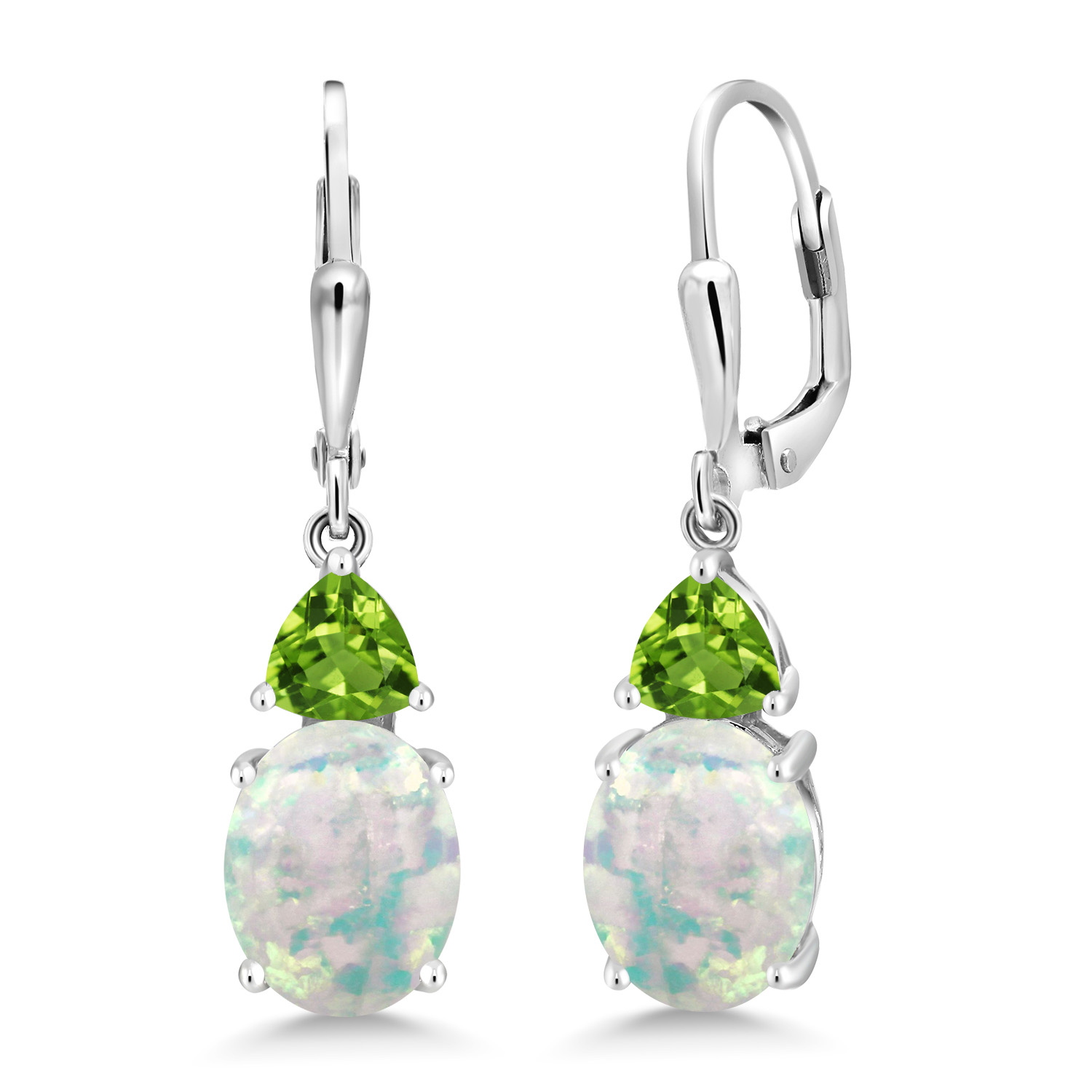 1.26 Ct Oval Cabochon Green Simulated Opal 925 Sterling Silver Earrings
