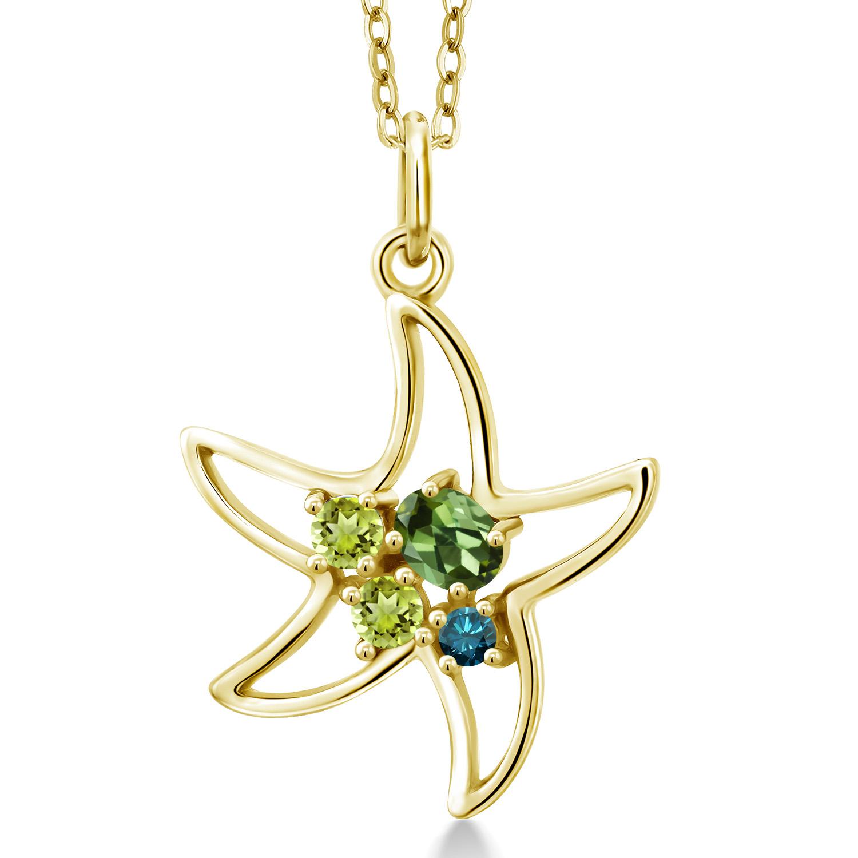 Gem Stone King 0.32 Ct Green Tourmaline Green Peridot 18K Yellow Gold Plated Silver Starfish Necklace