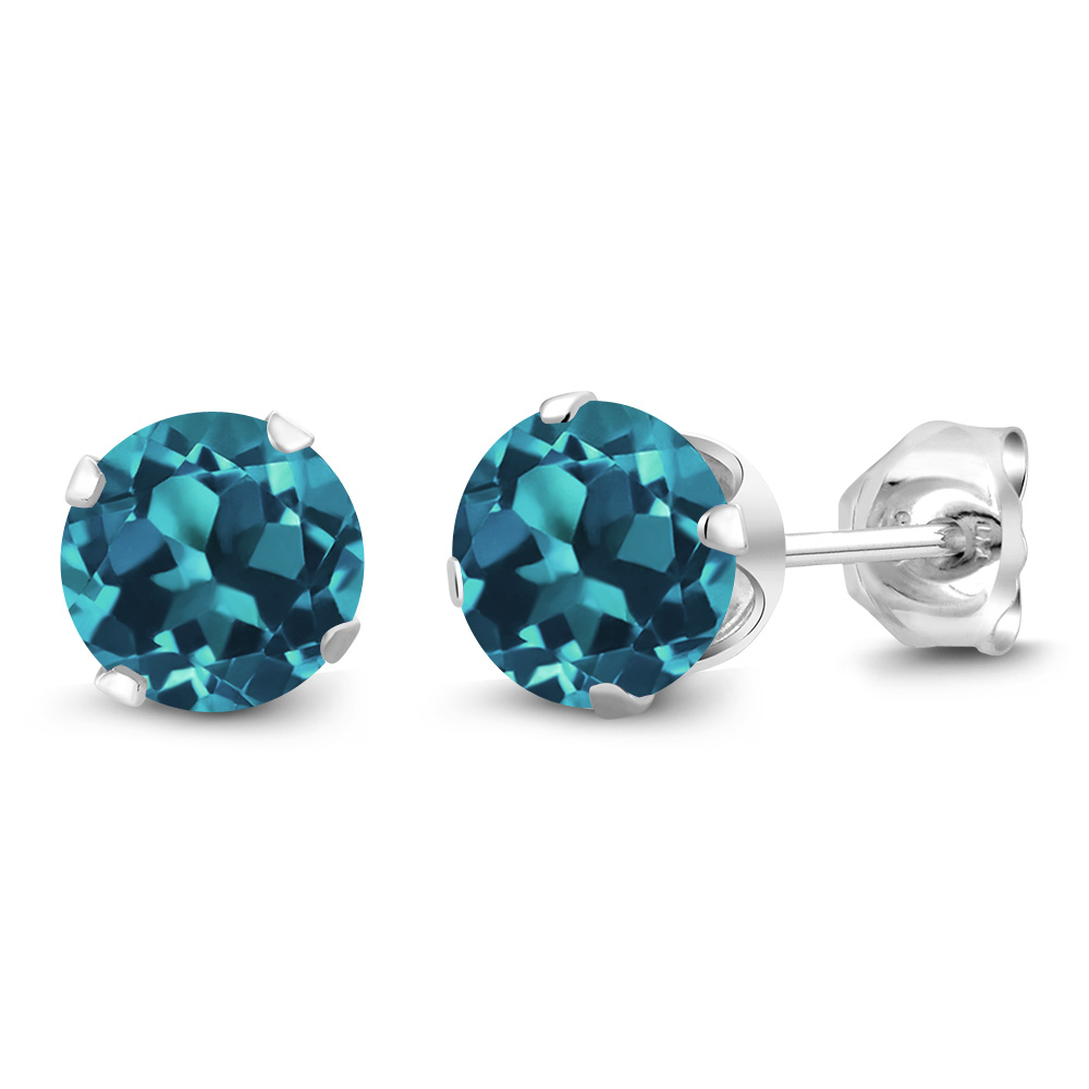 Silver Tone Simulated London Blue Topaz 6mm Round Stud Earrings