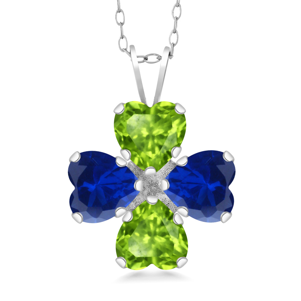 Gem Stone King 3.00 Ct Oval Blue Simulated Sapphire Green Peridot 925 Sterling Silver Pendant