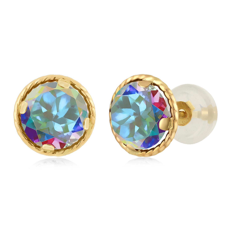14Kt White Gold Natural Mystic Topaz Bezel Round Stud Earrings