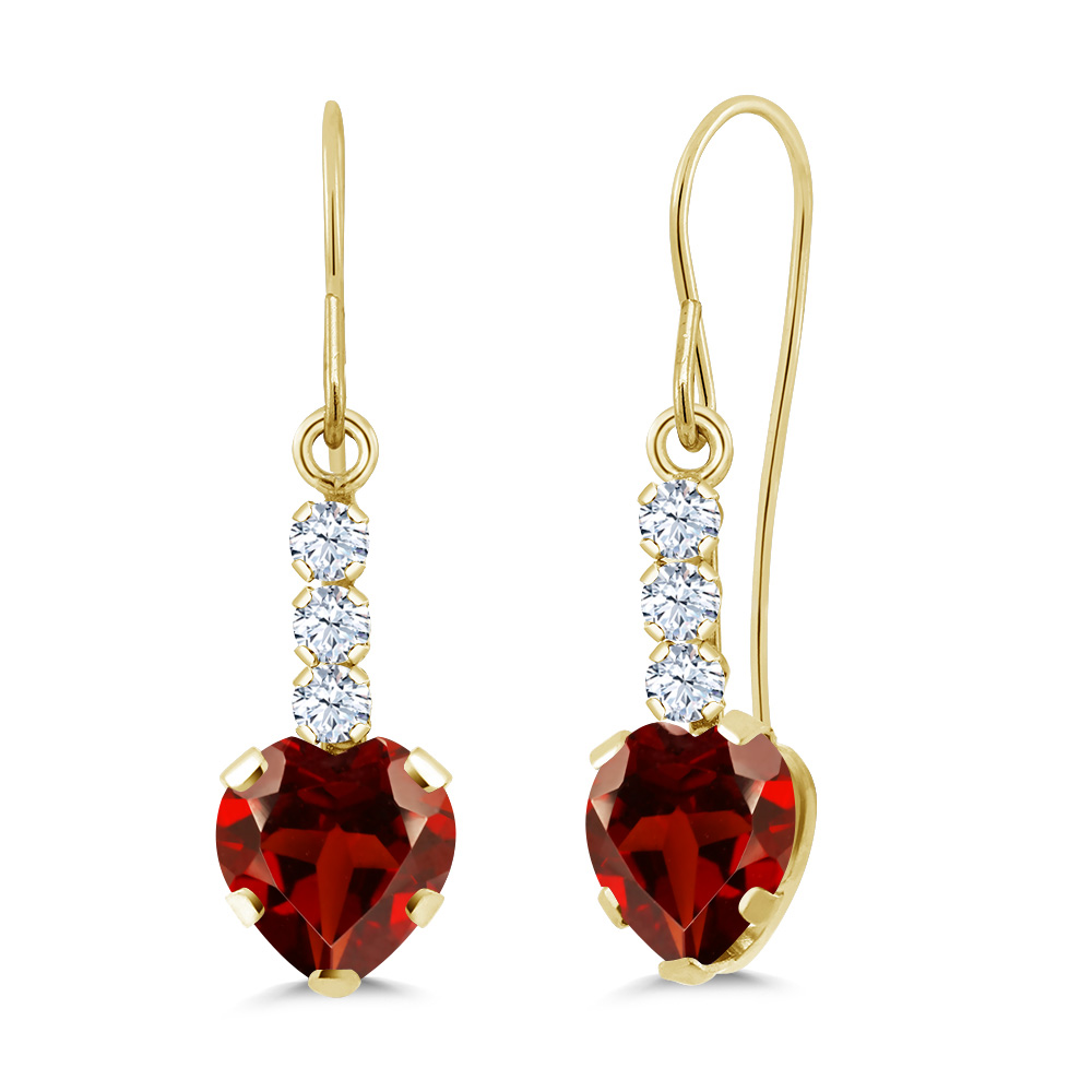 heart stud bezel double yellow earrings gold cubic zirconia safetyback setting cut red accent