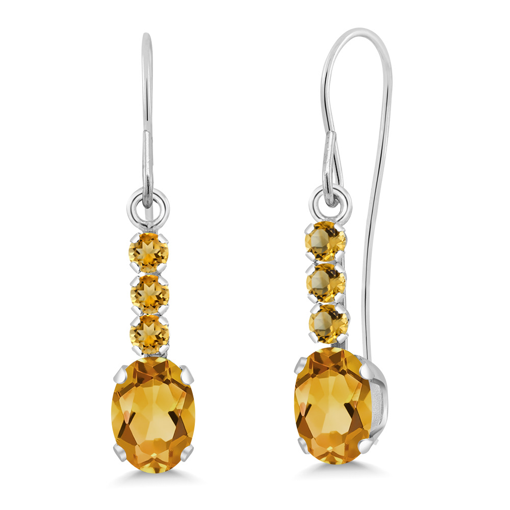 1.01 Ct Oval Yellow Citrine and Simulated Citrine 10K White gold Earrings