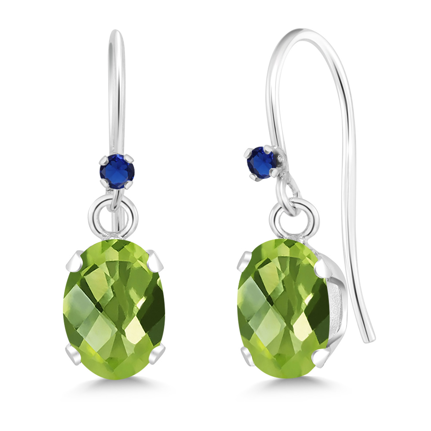 1.22 Ct Oval Yellow Citrine Blue Simulated Sapphire 925 Sterling Silver Earrings