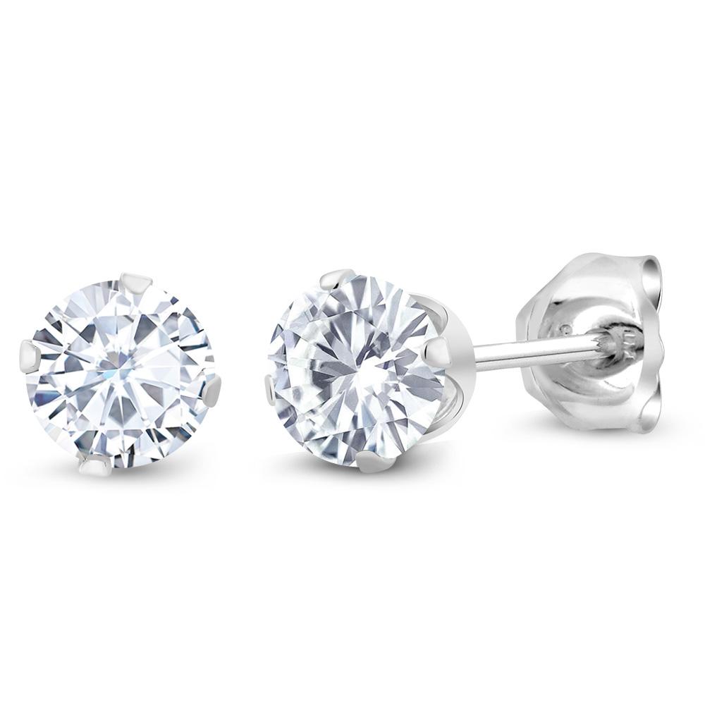 Dew Sterling Silver and Round Stone Stud Earrings zWloYZ