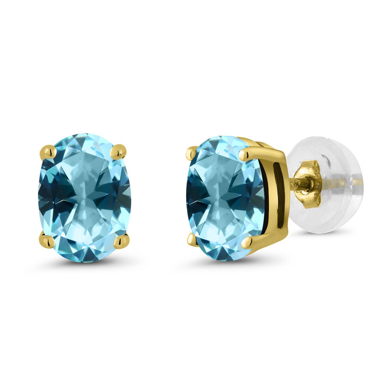 a0b50a0e7e36ec 14K Yellow Gold Stud Earrings Set with Oval Ice Blue Topaz from Swarovski