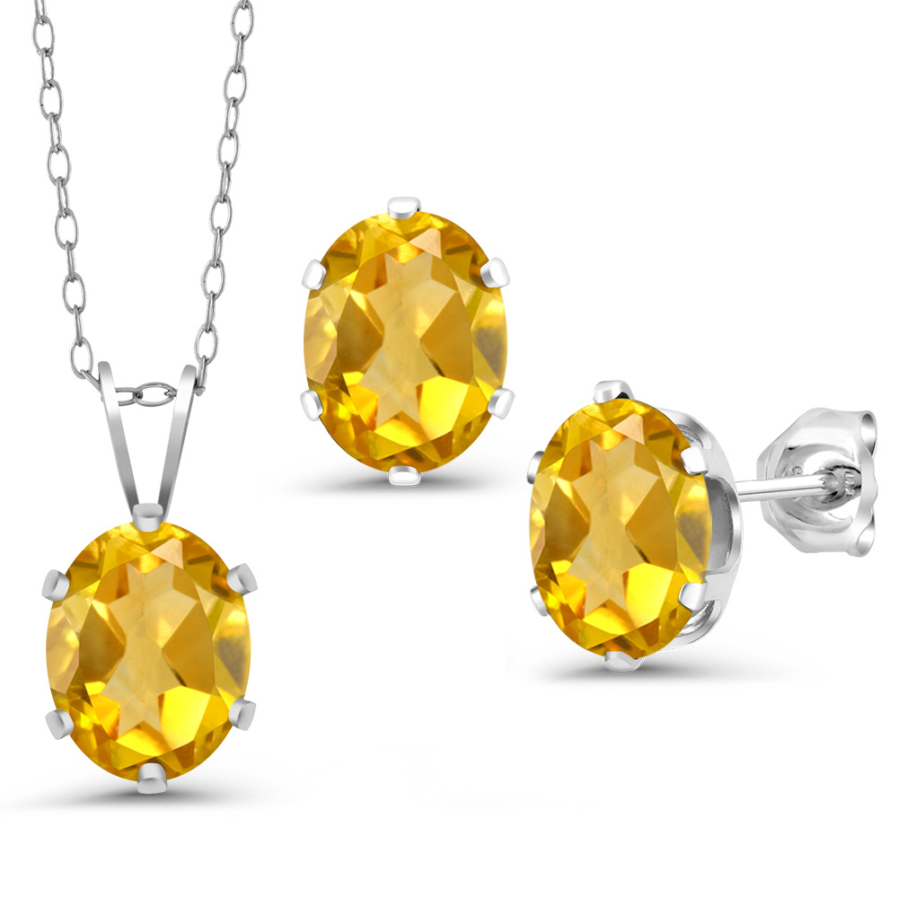 3.30 Ct Yellow Lemon Quartz 925 Sterling Silver Pendant Earrings Set With Chain