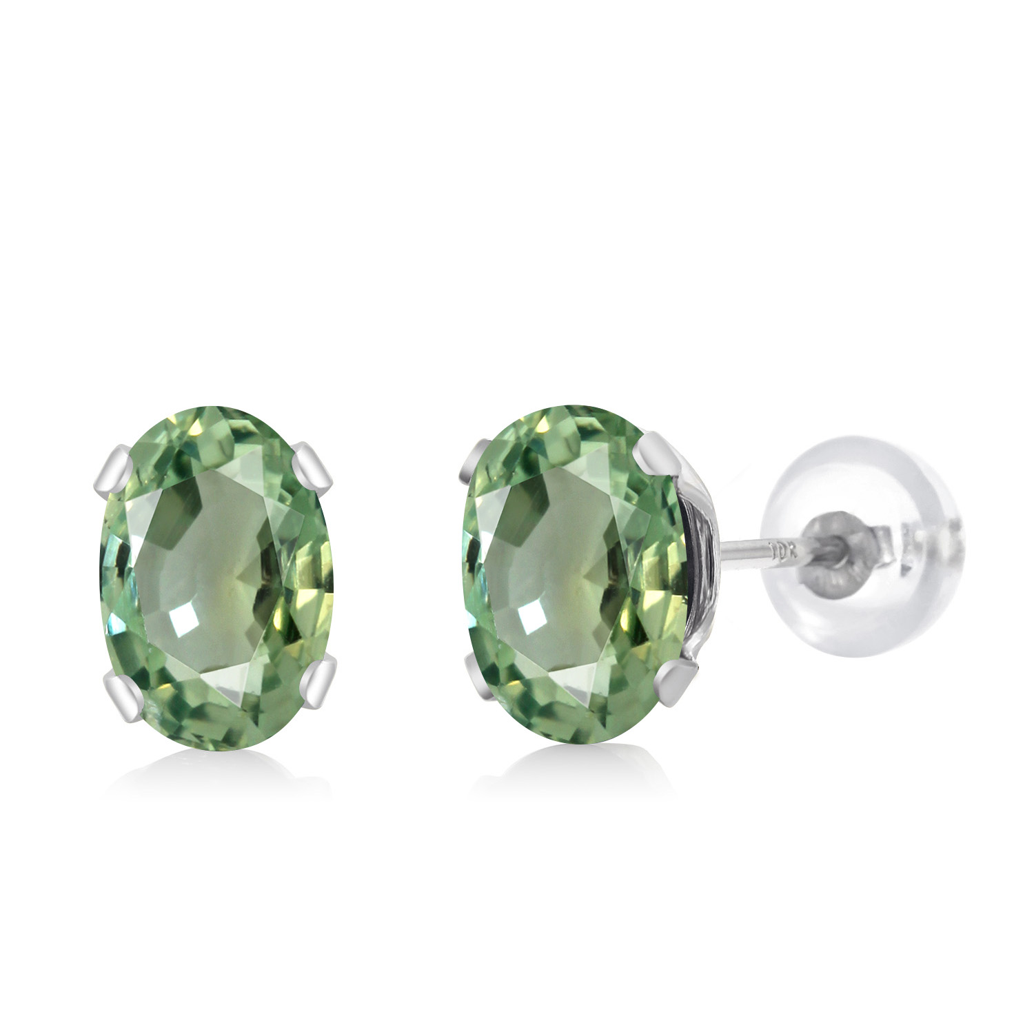 Gem Stone King 1.00 Ct Oval Shape Green Peridot Yellow Gold Plated Silver Stud Earrings
