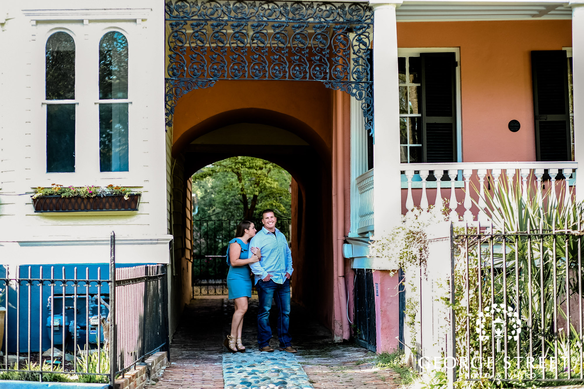 blissful couple at white point garden entryway engagement photography 2