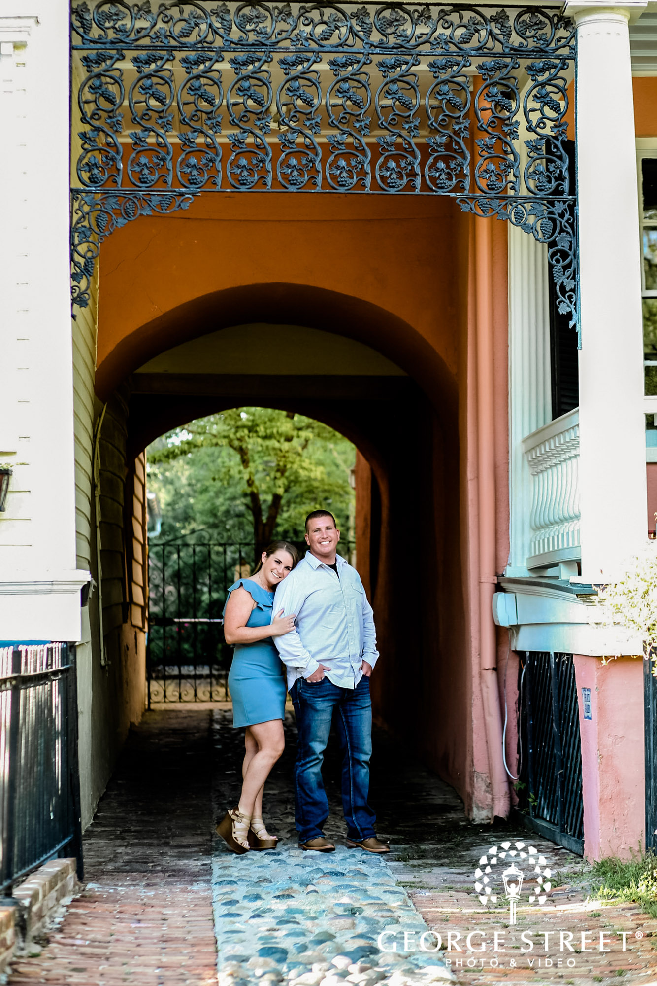 blissful couple at white point garden entryway engagement photography