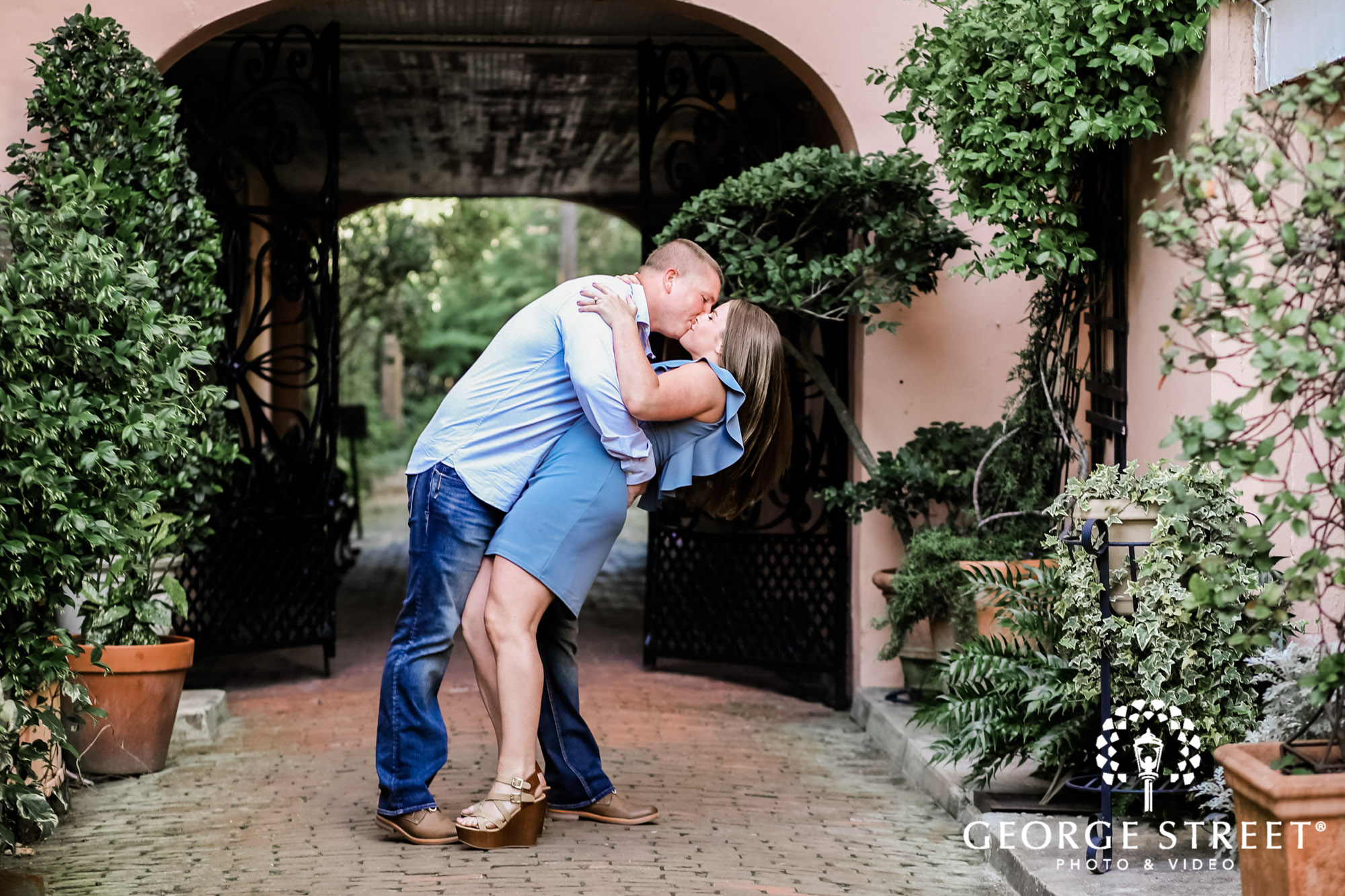 romantic couple at white point garden entrance engagement photography