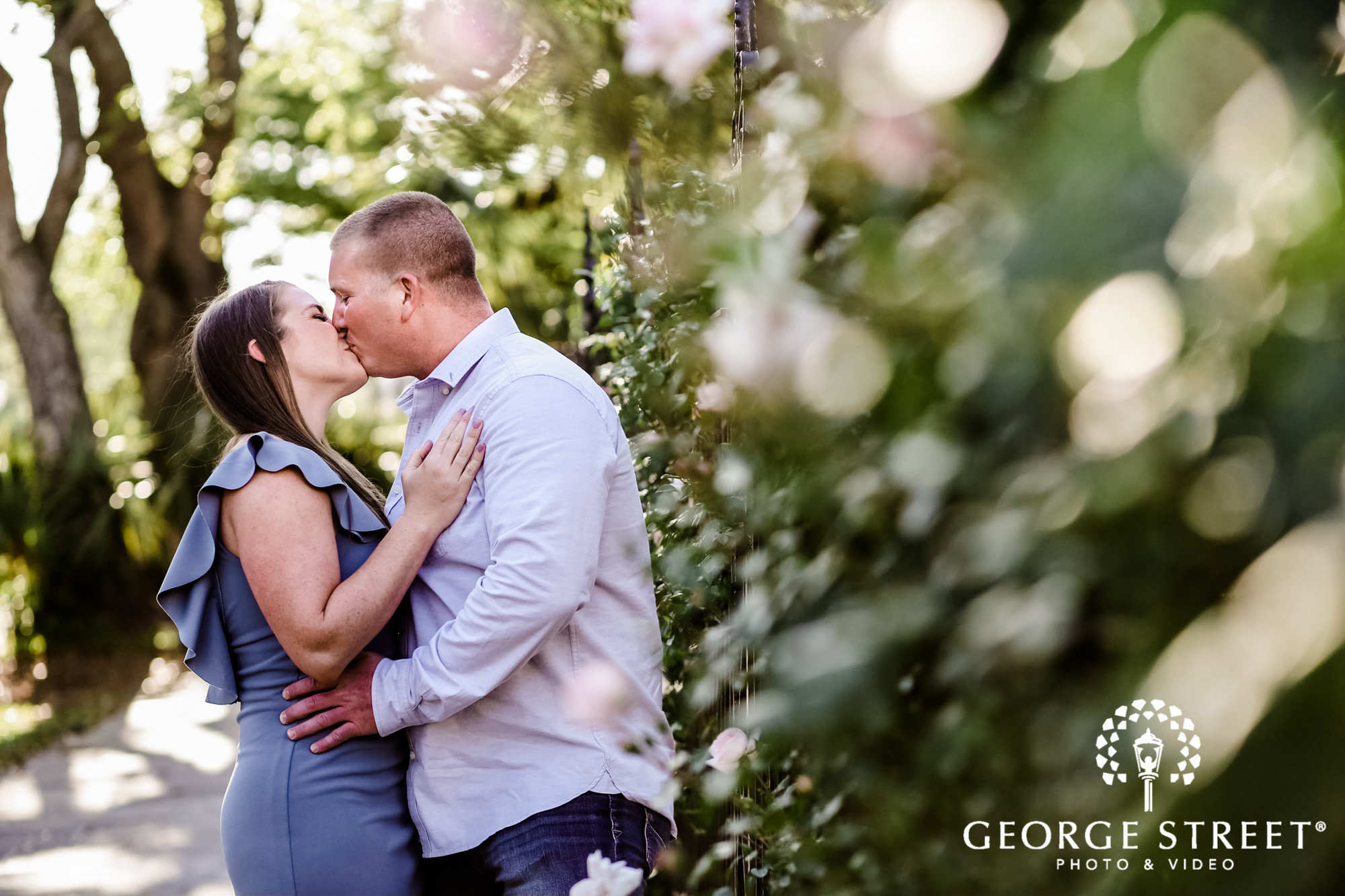 romantic couple in garden engagement photography