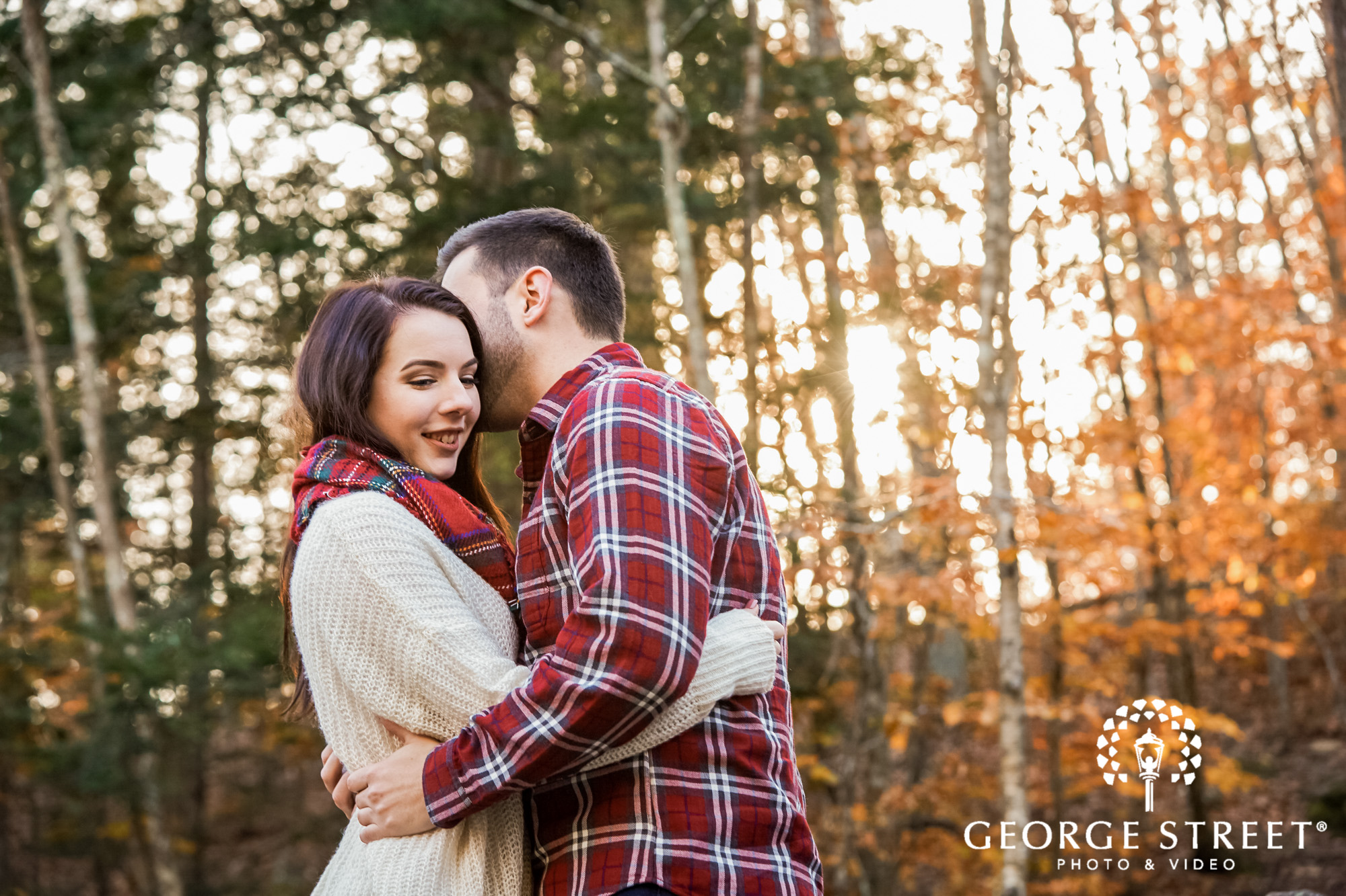 adorable couple in woods enegament photography