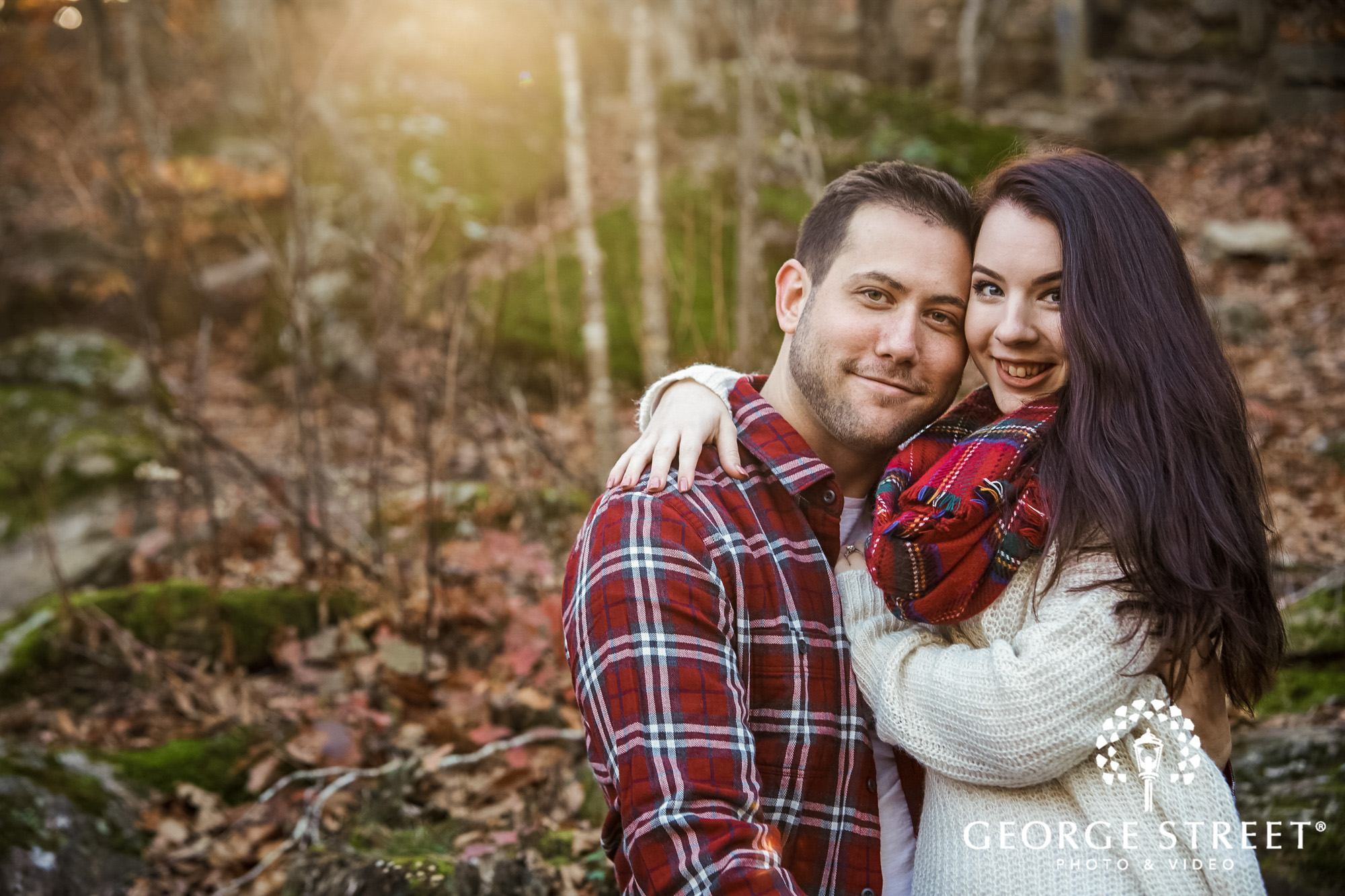 lovely couple in park engagement photo