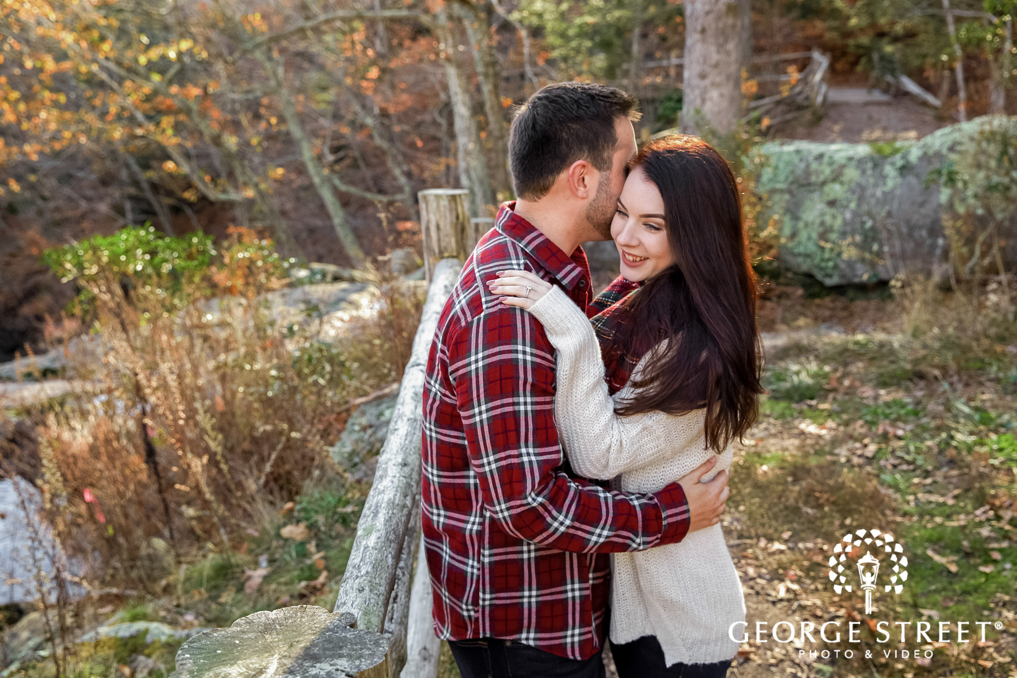 loving couple in forest engagement photo