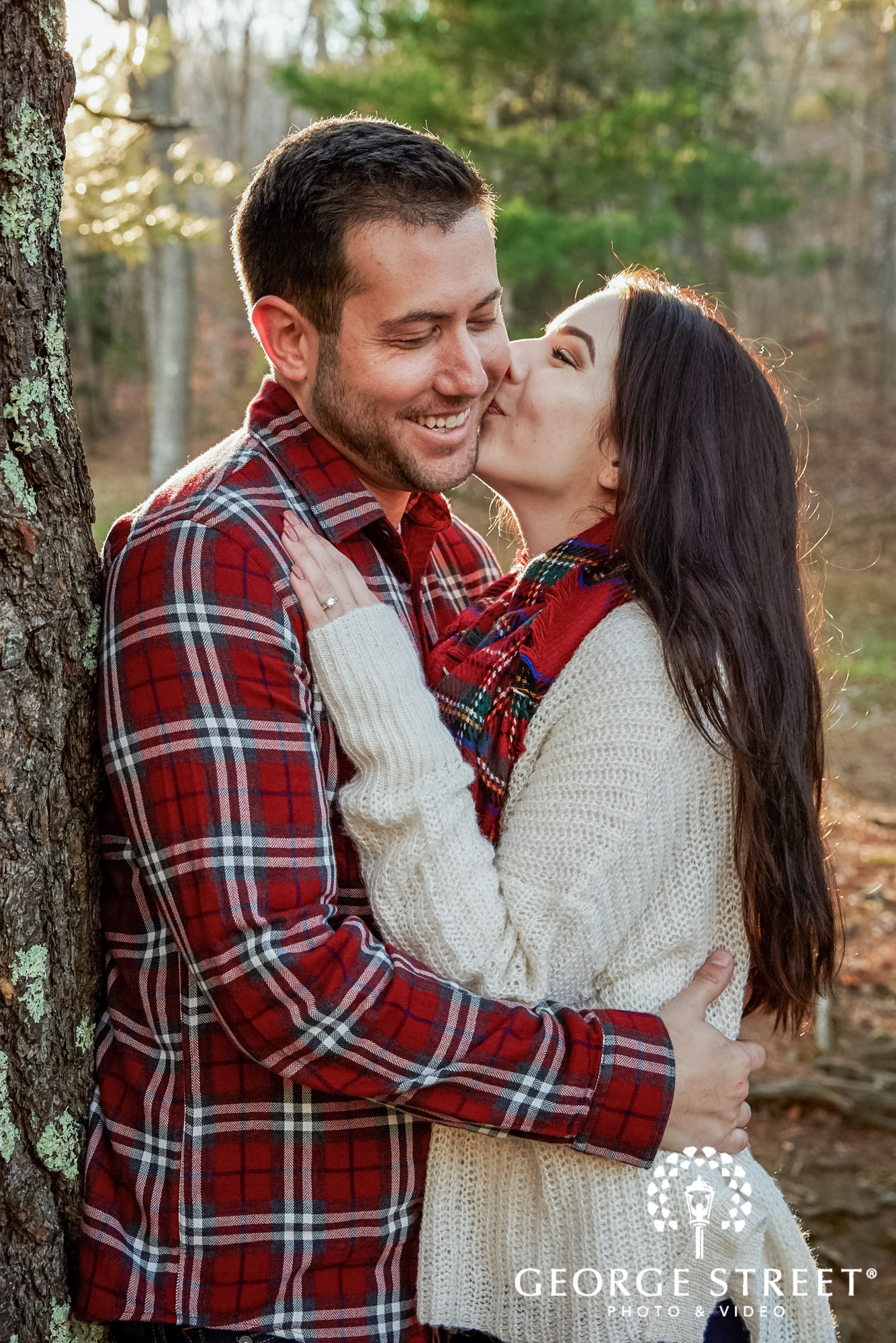 loving couple in garden engagement photography