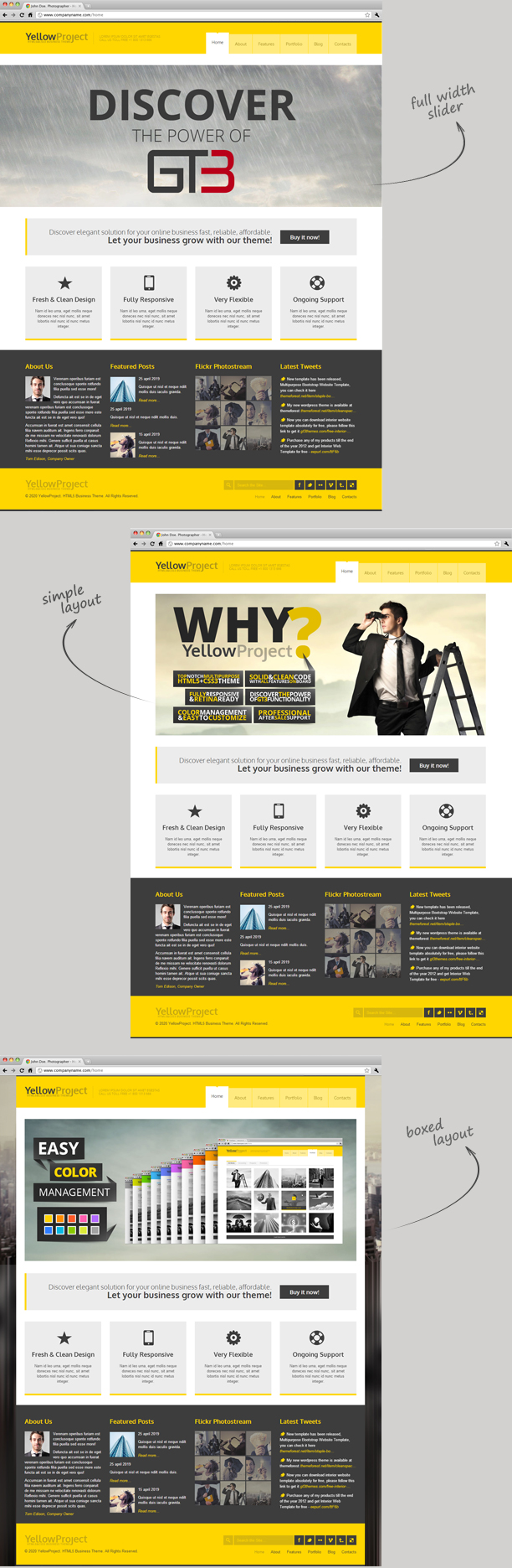 YellowProject Bootstrap Responsive Template