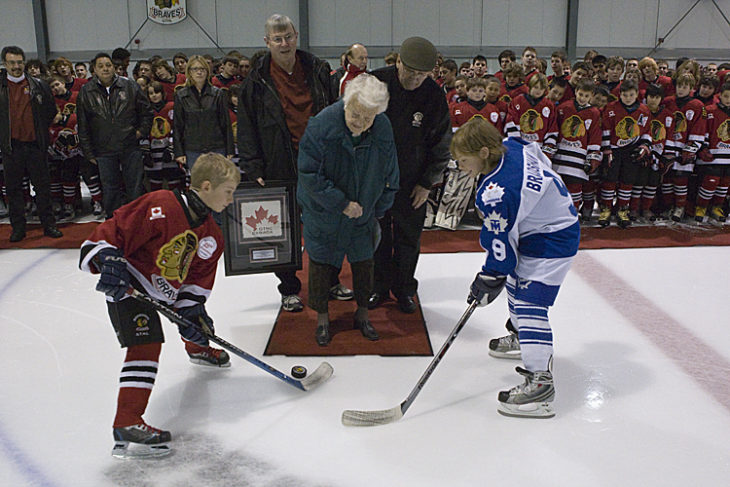 Ceremonial Puck Drop - Joe Bradshaw & Kyle Lewis take the face off from Mayor Hazel McCallion Sunday afternoon at the Hershey Centre while almost all of the Mississauga Braves organization looks on.