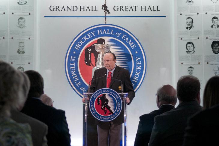 Toronto 30/05/2012 - GTHL President John R. Gardnet addresses the audience at the Toronto Hockey Hall of Fame during the 2012 GTHL Awards Celebration.