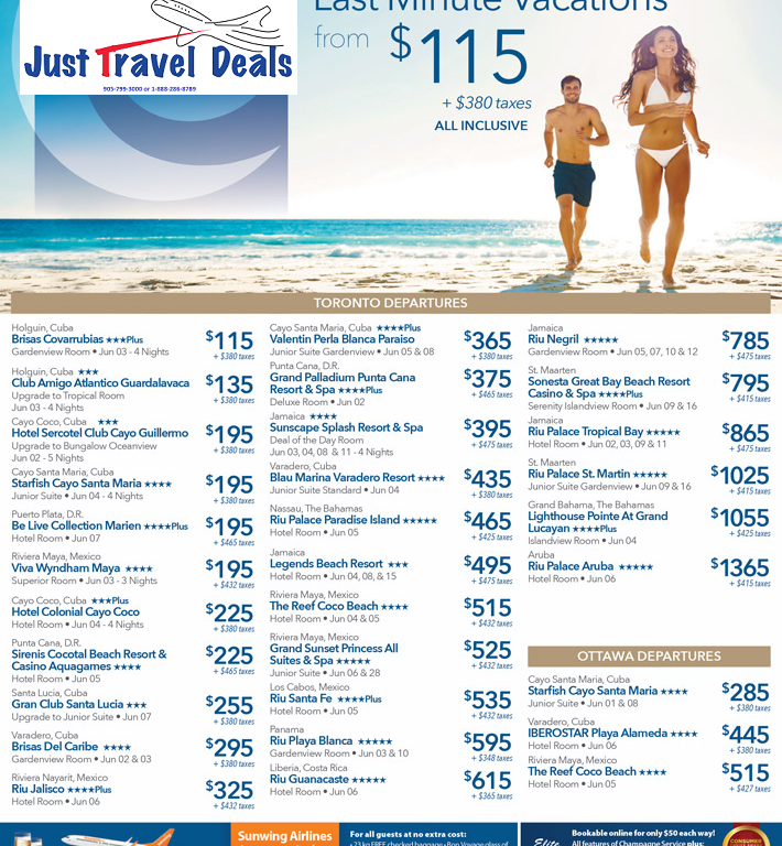 Last Minute Sell Off Vacations From 115