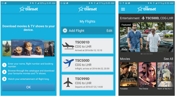 Air Transat: CinePlus B App Now Available For Android Devices Too
