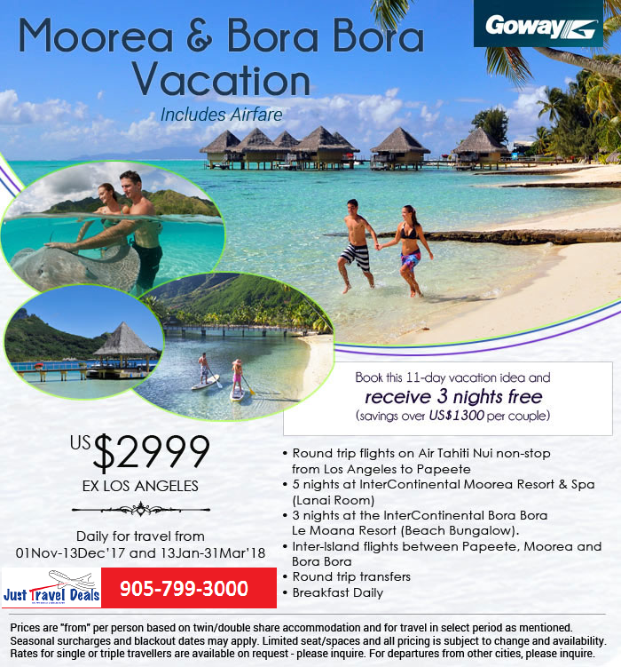11 Day Moorea And Bora Bora Vacation Includes Airfare